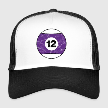 Billiard billiard ball purple twelve twelve vintage - Trucker Cap