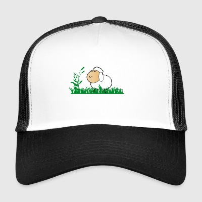 Funny sheep in green grass - Trucker Cap