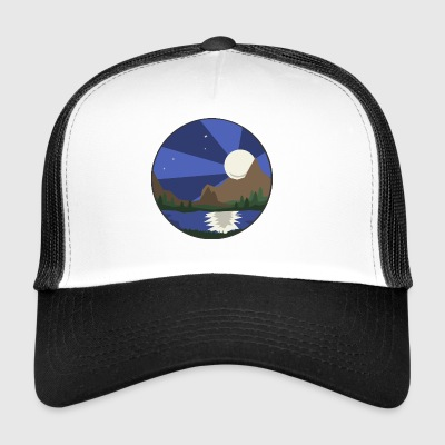 Landscape, lake & moon - Trucker Cap