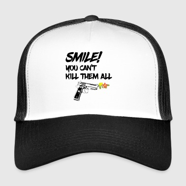 gun flowers smile smile fun quote softair walther - Trucker Cap