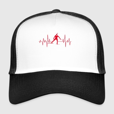 Biathlon skiing winter sports heartbeat gift - Trucker Cap
