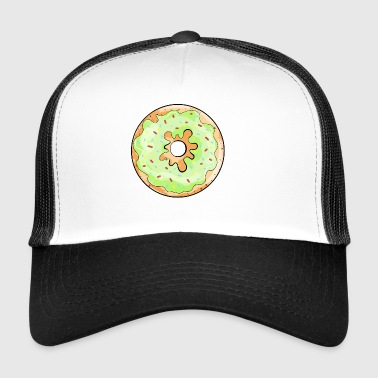 Delicious donut with green frosting cartoon gift - Trucker Cap