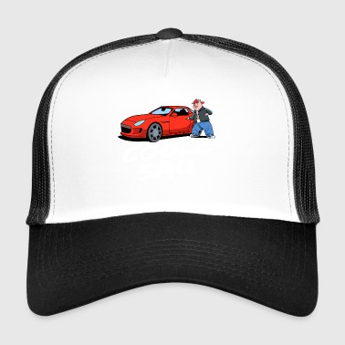 cool sow it red sports car, pigs good - Trucker Cap