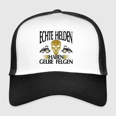 Real heroes yellow rims gift tshirt white - Trucker Cap