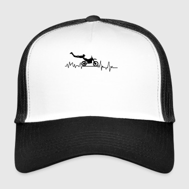 Heartbeat motorcycle race t-shirt gift wheel - Trucker Cap