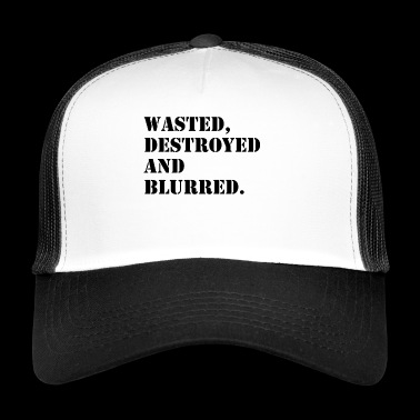 W'sted, destroyed and blurred - Trucker Cap