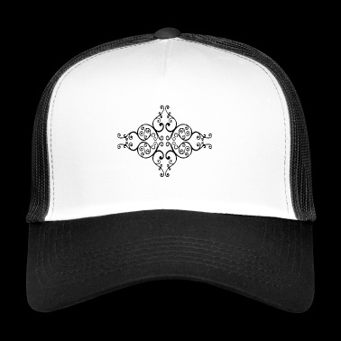 Damask Ornament No.2 - czarny marmurkowe - Trucker Cap