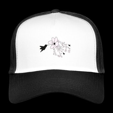 Hummingbird and cherry blossom - Trucker Cap