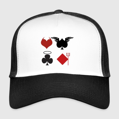 Poker Black Jack Ass Devil Devil Angel Card Casino - Trucker Cap
