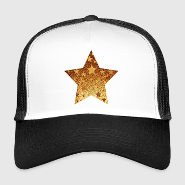 Star with asterisks - gold with gold - Trucker Cap