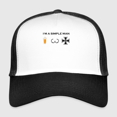 simple man boobs beer beer tits iron cross egg - Trucker Cap