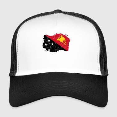 Roots roots flag homeland country Papua New Guinea p - Trucker Cap