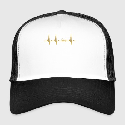 evolution ekg heartbeat Black Hawk Hubschrauber He - Trucker Cap