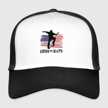 born to skate skateboard america flag destroyed 21 - Trucker Cap