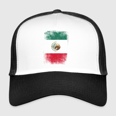 Mexico Flag Proud Mexican Vintage Distressed - Trucker Cap