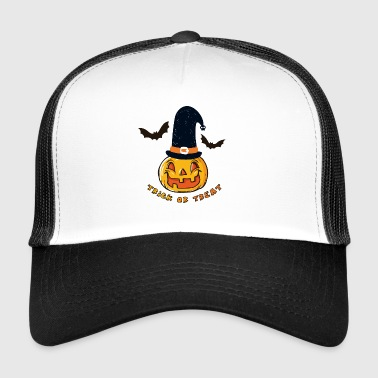 Bat Halloween pumpa, häxa, bus eller godis - Trucker Cap