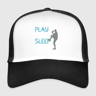 play now sleep later sport baseball fan club - Trucker Cap