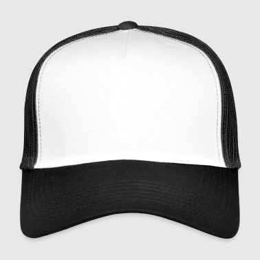 Silhouette Cat Treble Clef Note - Trucker Cap