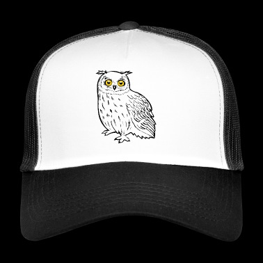 Clever eagle owl with yellow eyes - Trucker Cap