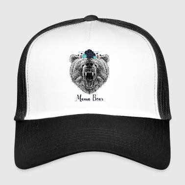 Cool Floral Mama Bear Wild Grizzly Bear Funny Gift - Trucker Cap