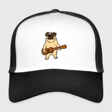 Pug Dog Playing Guitar Guitarist Cartoon Animal - Trucker Cap