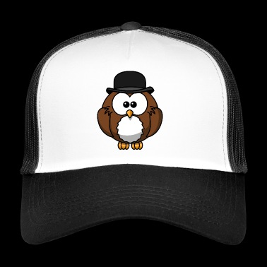 little eagle owl with hat - Trucker Cap