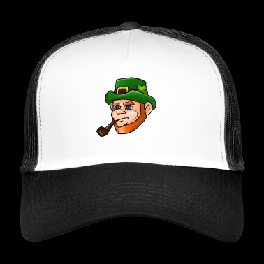 Leprechaun Face Smoking Pipe Graphic St Patty - Trucker Cap