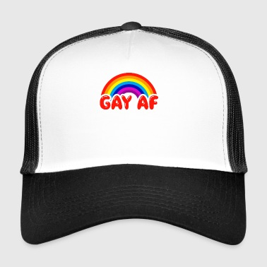Gay AF Funny Gay Flag Rainbow Colors LGBTQ - Trucker Cap