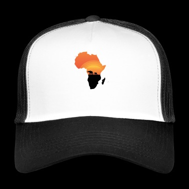 Africa - Elephant - Map - Map - Sunset - Trucker Cap