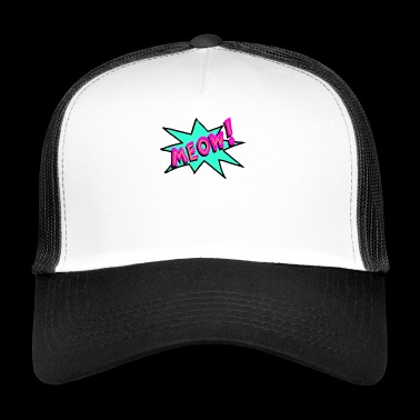 Cat Meow Meow Pop Art Farverig Funny Comic Kitty - Trucker Cap