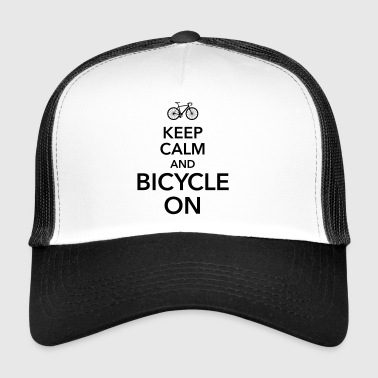 keep calm and bicycle on bicycle saddle - Trucker Cap