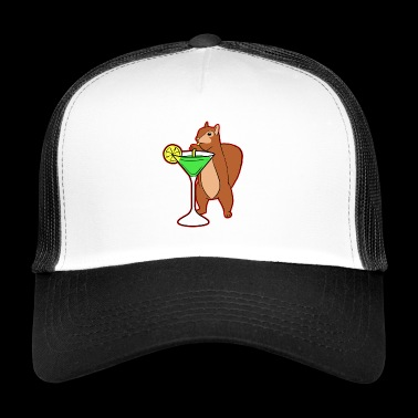 Squirrel Drinking Cocktail Funny Chipmunks Nuts - Trucker Cap
