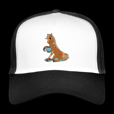Horse with coffee gift horsewoman equitation - Trucker Cap