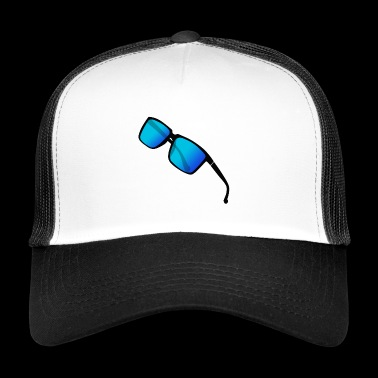blue edgy cool sunglasses hipster gifti - Trucker Cap