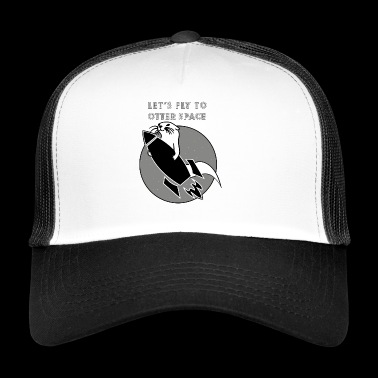 LET´S FLY TO OTTER SPACE - SCHWARZE RAKETE - Trucker Cap