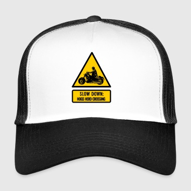 slow down: hogs herd crossing - Trucker Cap