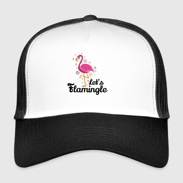 Let's flamingle Funny Flamingo T-Shirt Gift - Trucker Cap