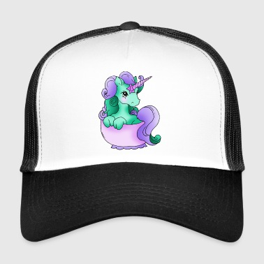 Unicorn in the cup of purple green lilac - Trucker Cap
