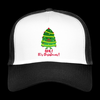 Het is Kerstmis! Emoji. Emoticon kerstboom. - Trucker Cap