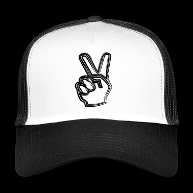 Line drawing Victory / Peace as a gift idea - Trucker Cap