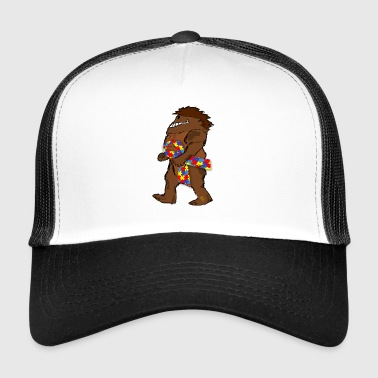 Bigfoot Sasquatch Autismuss ruban de conscience - Trucker Cap