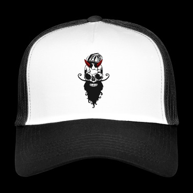 head of death crane devil horn lucifer bearded barb - Trucker Cap