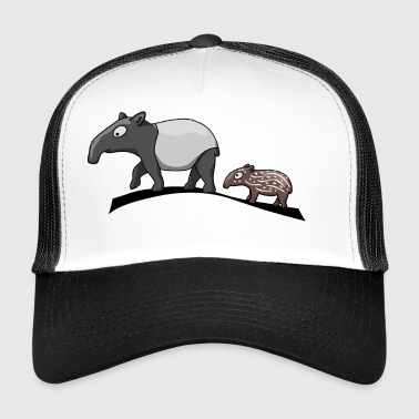 Tapir family mother and baby baby sweet present - Trucker Cap