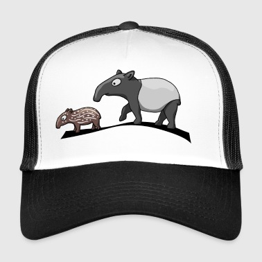 Tapir family cartoon comic animal gift - Trucker Cap