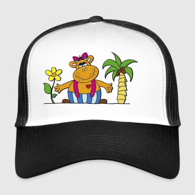 funny hippo with sunflower Hippo hippo - Trucker Cap