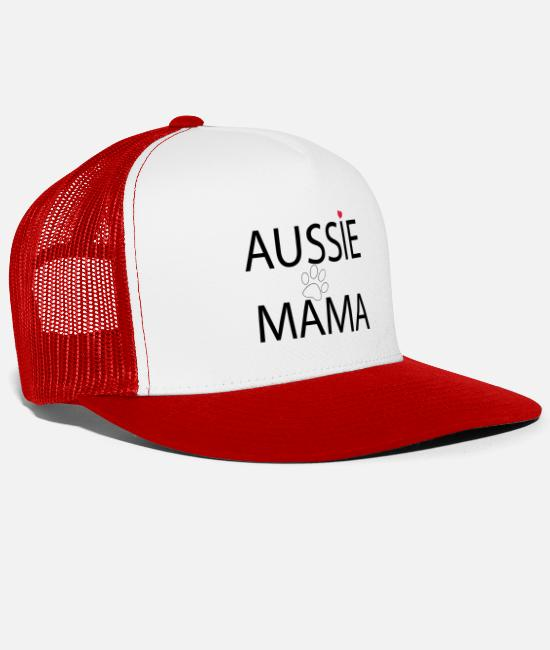 Aussie Caps & Hats - Aussie mom - Trucker Cap white/red
