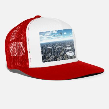 Megacity Flying saucers over a megacity - Trucker Cap