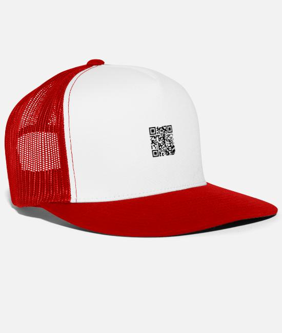 Rick Rolled Caps & Hats - Rick Rolling QR Code - Trucker Cap white/red