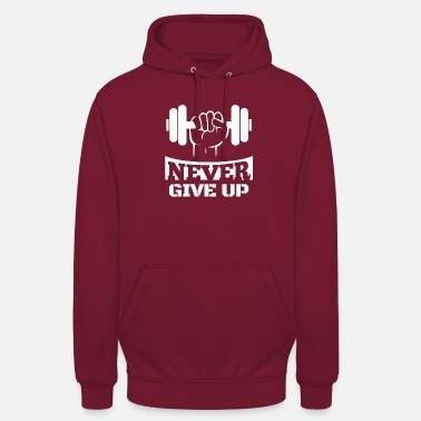 Up Never Give Up Fitness - Felpa con cappuccio unisex