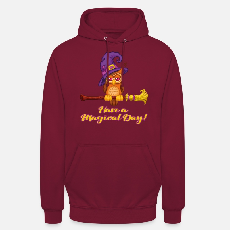 Eule Pullover & Hoodies - Have a Magical Day! | Eulen Hexe mit Hut auf Besen - Unisex Hoodie Bordeaux